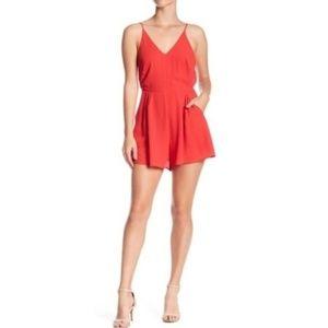 Lush Poinsettia Red Thin Strap Romper Shorts Small